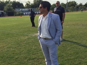 Farragut's Head Coach Ryan Hearn has set the standard for coaching fashion early this season. (Photo courtesy of Lynden Ostrander of the Tampa Tribune)