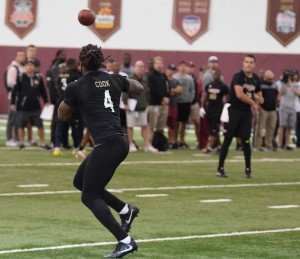 Former FSU RB Dalvin Cook receiving passes during FSU 2017 Pro Day
